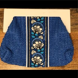 Vera Bradley small blue white wood clutch purse